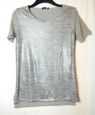 SILVER GREY LADIES CASUAL PARTY TOP BLOUSE SIZE 10 STRETCH A&G JERSEY