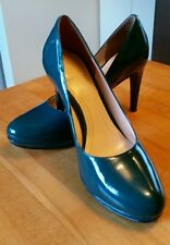 Cole Haan Nike Air 6M teal green patent leather high heel stiletto dress shoes