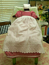 Black Pilowcase Doll handmade w/Red/White Gingham Dress & Long White Apron, New