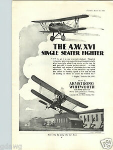 1932 PAPER AD Airplane Armstrong Whitworth XVI Fighter Hawker Fury Nimrod Osprey
