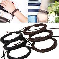 Punk Vintage Genuine Leather Braided Handmade Bangle Bracelet