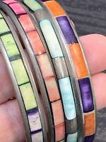 Mother Of Pearl Shell Multi Colour Pastel Cuff Bracelet Lot Of 4