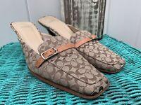 """Woman's COACH Greta Heels Shoes Brown Tan """"C"""" Logo Monogram Size 8 1/2B"""