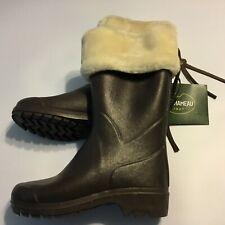 Le Chameau Clan Artica Rubber Boots Wellington Faux Fur Lined Brown US 7.5 EU 39