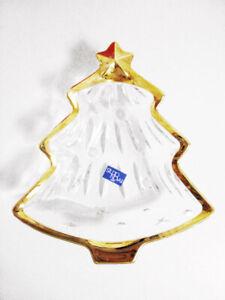 NEW IN BOX STUDIO NOVA Gold Trim Holiday/Christmas Tree Shaped Glass Candy Dish
