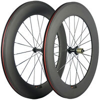 700C Bicycle Wheels 88mm 23mm Width Carbon Wheelset Clincher Race Cycle Matte