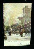 Early 1900s Chicago ILL. Wabash Avenue Glitter Postcard Snow & Trolley