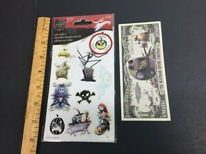 Official Disney Nightmare Before Christmas GLOW STICKERS + Million Buck Note