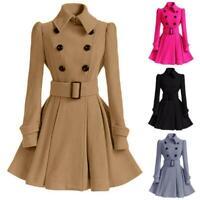 Women Double Breasted Woolen Trench Coat Parka Jacket Belt Silm Overcoat Outwear