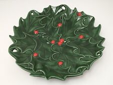 Vintage Atlantic Mold Christmas Serving Plate Holly Leaves Berries 70s USA