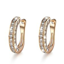 18k Yellow Gold GF Huggies Simulated Diamond Earrings Fashion