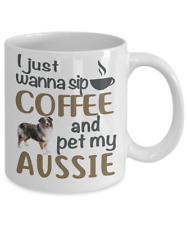 Sip Coffee With My Aussie, Australian Shepherd White Coffee Mug