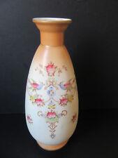 Crown Devon blushware vase with bird of paradise pattern.