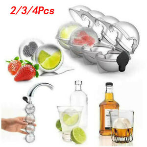 2/3/4Pcs Large Ice Cube Tray Ball Maker Big Rubber Mold Sphere Wine Round Mould