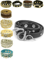 Womens Cuff Bracelet Fashion Skull Cross Crystal Stud Fastening Jewellery New