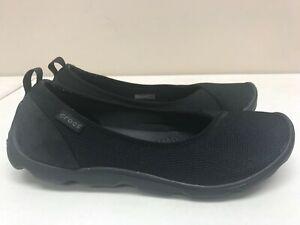 Women's Crocs Black Fabric Ballet Flats Loafers 202048