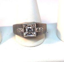 Solid 14K White Gold Men's Fashion Ring Genuine 0.29 Carat Center Diamond