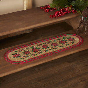"""VHC Brands Rustic 8.5""""x27"""" Poinsettia Stair Tread Tan Christmas / Holiday Decor"""