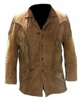 Vipzi Mens New Western wear Brown Suede Leather Jacket Fringe all size