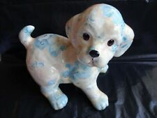 More details for glazed paper mache dog puppy figurine blue floral shabby cottage chic 16 cm tall