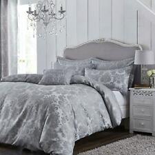House Additions Damask Jacquard Duvet Set Cover Silver Grey Super King 6ft