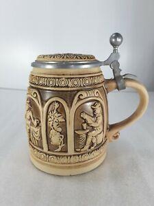 Vintage Domdesign Beer Stein Lidded Tankard Mug West German Pottery Embossed
