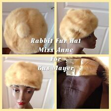 Vintage Ladies Rabbit Fur Hat Light Color Miss Anne/Gus Mayer Good Condition! (2