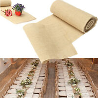30x275cm Natural Brown Burlap Lace Hessian Table Runner Wedding Party Decor GT