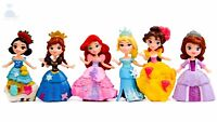 6pcs Disney Princess Mini Dolls Resin Character Figures Toy Miniature 90mm *50mm