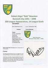 ROB NEWMAN NORWICH CITY 1991-1998 ORIGINAL HAND SIGNED CUTTING/CARD