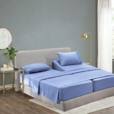 Luxury Bamboo Sheet Set Soft Hypoallergenic Blue Queen Deep Pocket 4 Pc Set