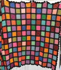 """Granny Square Afghan Stained Glass Vibrant Color Quality Vintage 56""""x 68"""""""