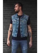 Gilet Cut jacket en jean sans manches denim couleur Bleu  Bikers M à 3XL