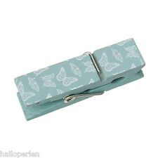 Wood Clothespin Clips Note Pegs Lightblue Butterfly Pattern 20 PCs