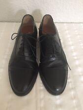 Salvatore Ferragamo Black Cap Toe Men's Oxfords 10 Made in Italy