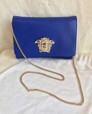 VERSACE Blue Leather Gold Chain MEDUSA Handbag Clutch