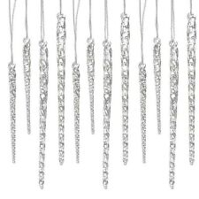 24 Piece Clear Glass Icicle Ornaments Christmas Tree Decor Holiday Decoration