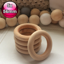 5 x large 56mm raw natural wood rings round pram craft baby ring wooden teether