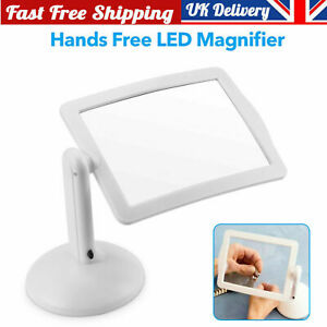Large LED Magnifying Glass With Stand Light Lamp Hands Magnifier Foldable Clamp