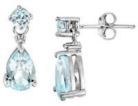 2.50 Carat Blue Topaz Teardrop Earrings w/ Diamond Accent in Sterling Silver