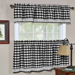 Buffalo Check Black Gingham Kitchen Curtain Window Treatment Assorted Sizes