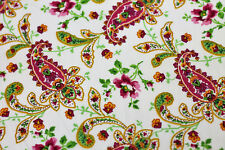 NEW Fabric Paisley Pink on White Poplin Cotton Fat Quarter Quilting Material