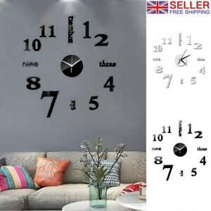 Large DIY 3D Frameless Number Wall Clock Mirror Sticker Home Office Room Decor