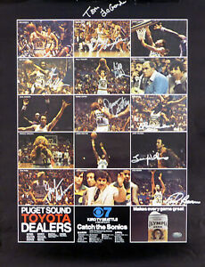 1978-79 NBA Champions Supersonics Auto Poster Photo 9 Sigs Fred Brown MCS 51048