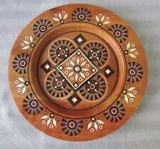 Ukrainian Decorative Plate,Cherry Wood,Hand Carved,Inlaid Colorful Glass Beads 9