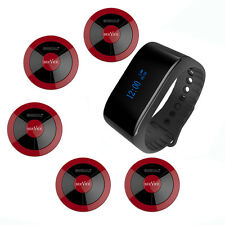 SINGCALL Wireless Calling Pager System, 1 Waterproof Watch and 5 Pagers APE310R