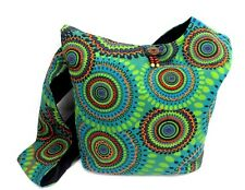 Hobo Crossbody Purse Cotton Green Geometric Mandala Hippie Shoulder Bag