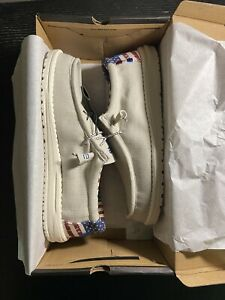 Hey Dude Mens Wally Off White Patriotic Shoes MULTIPLE SIZES *SHIPS ASAP*