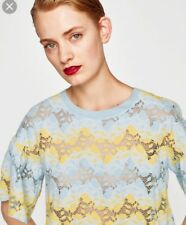 NEW Zara Size Medium (10) Blue and Yellow Floral Top Oversized T-Shirt