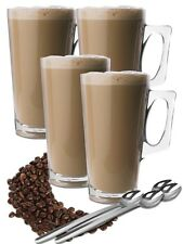 4x Large 360ml Glass Coffee Tea Mugs Cups With Spoons Ideal For XL Tassimo Pods